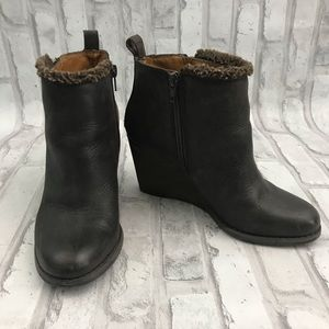 Lucky Brand Brown Wedge Booties